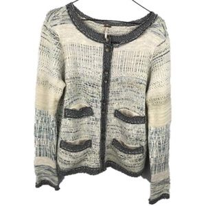 FREE PEOPLE Stitches Woven Knit Button Cardigan